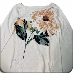 LOFT WHITE FLORAL MIX TOP nwot